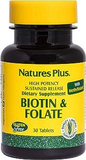 NaturesPlus Biotin & Folic Acid (Methylfolate), Sustained Release - 30 Vegetarian Tablets - Vitamin B7 & Vitamin B9, Suppo...