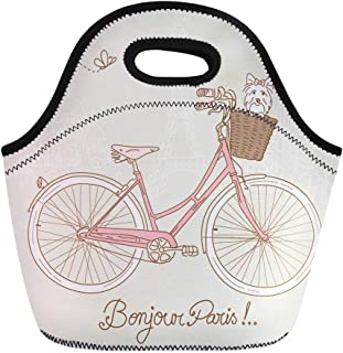 Semtomn Neoprene Lunch Tote Bag Pink Cute Riding Bike in Romantic From Paris Dog Reusable Cooler Bags Insulated Thermal Picnic Handbag for Travel,School,Outdoors,Work