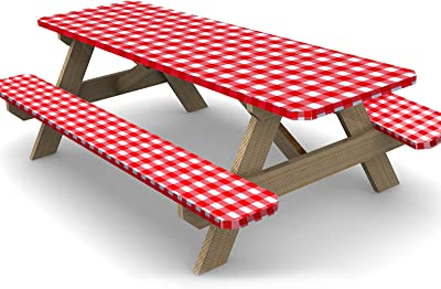 Ruisita 3 Pieces 72 Inches Vinyl Picnic Table and Bench Fitted Tablecloth Cover Picnic Table and Bench Fitted Tablecloth for Picnics Indoor and Outdoor Dining, Red and White