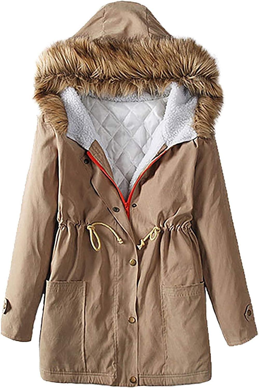 Winter Warm Coat Women Fashion Hooded Mid-Length Cotton Long Sleeve Plus Fleece Jacket