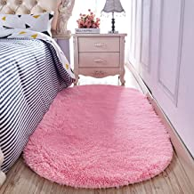 YJ.GWL High Pile Shaggy Pink Rugs for Girls Rooms Bedroom Anti-Slip Oval Nursery Carpet Soft Fluffy Area Rugs 2.6' X 5.3'