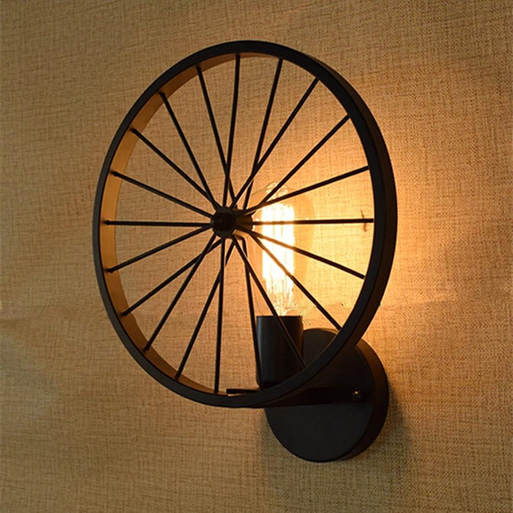 INHDBOX 40W Vintage Wall Lamp Wheel Style Lighting Sconces Retro Iron Art Porch Light