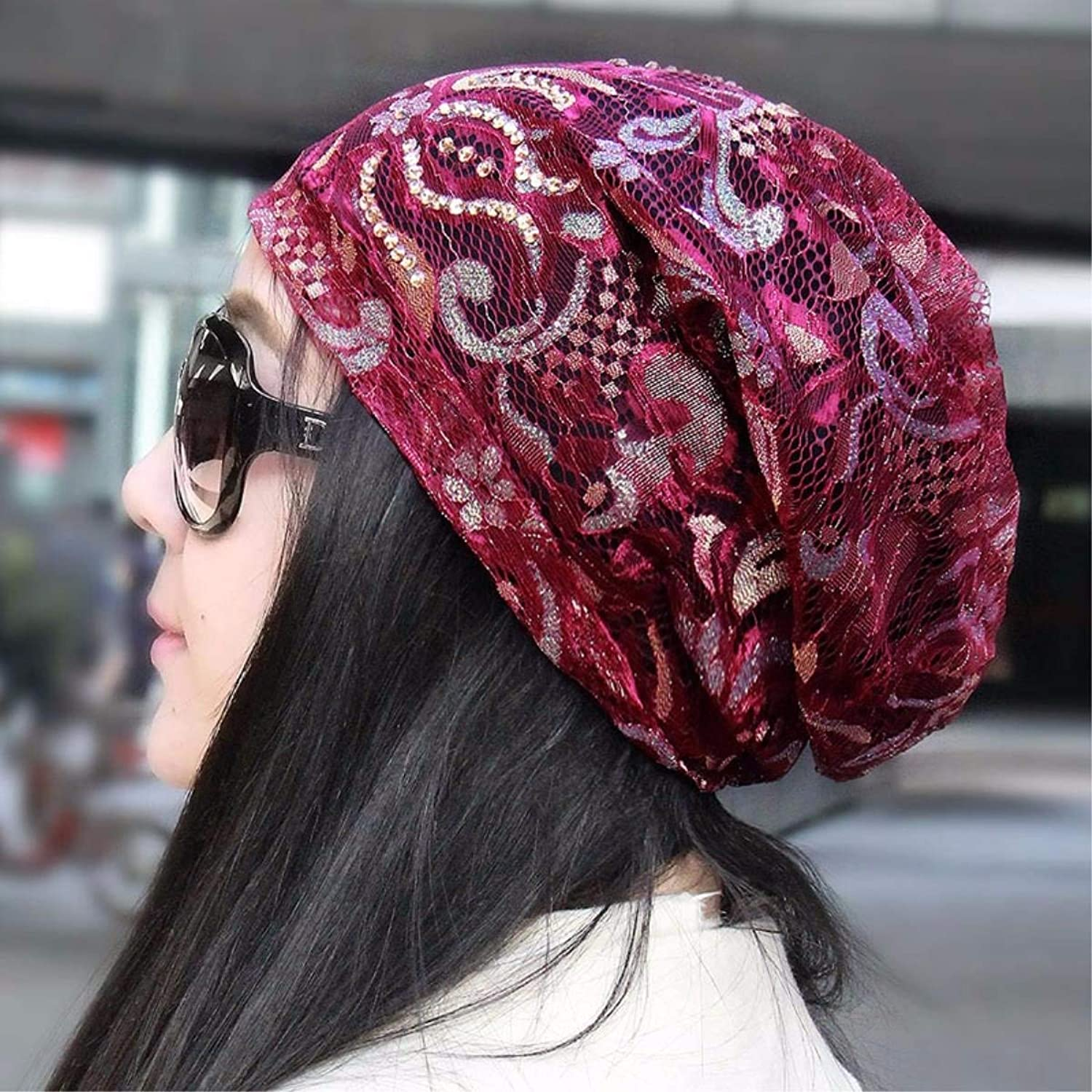 Beach Hat Hat Female Spring and Summer Seasons Cap Brilliant lace Scarf Cap Storehouse Cap Air Conditioning Cap Bald Cap on The Cap Storehouse Summer Sun Hat (color   Pink A)