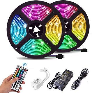FASHURN Led Lights Kit,32.8ft RGB Flexible Led Light Strips with 44Keys IR Remote 12V Power Supply,SMD5050 Color Changing Led Strip Lights for Bedroom, Home, Indoor,Kitchen,Party Decoration
