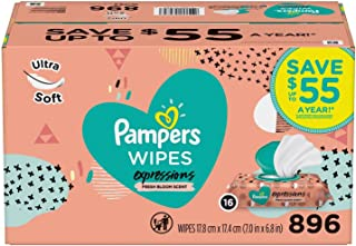 Pampers Expressions Baby Wipes, Fresh Bloom Scent (896 ct.)