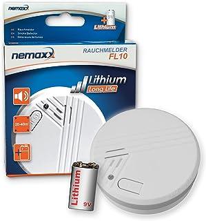 1x Nemaxx FL10 Smoke detector - quality smoke alarm with long-life lithium battery 10 years - according to DIN EN 14604