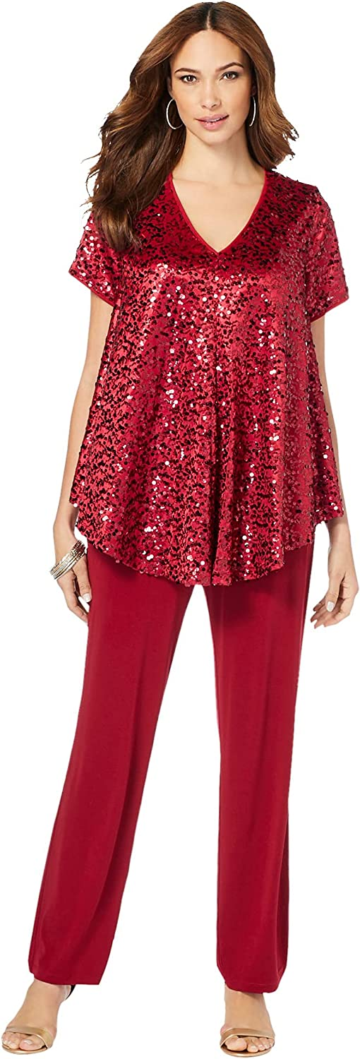 Roamans Women's Plus Size Sequin Tunic & Pant Set Made in USA Formal Sparkly Chiffon