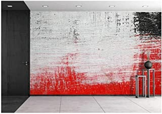 wall26 - Stroke of a Brush with White,Black and Red Paint on a Dusty Metal Fence - Textured Abstract Background-Close Up - Removable Wall Mural   Self-adhesive Large Wallpaper - 100x144 inches