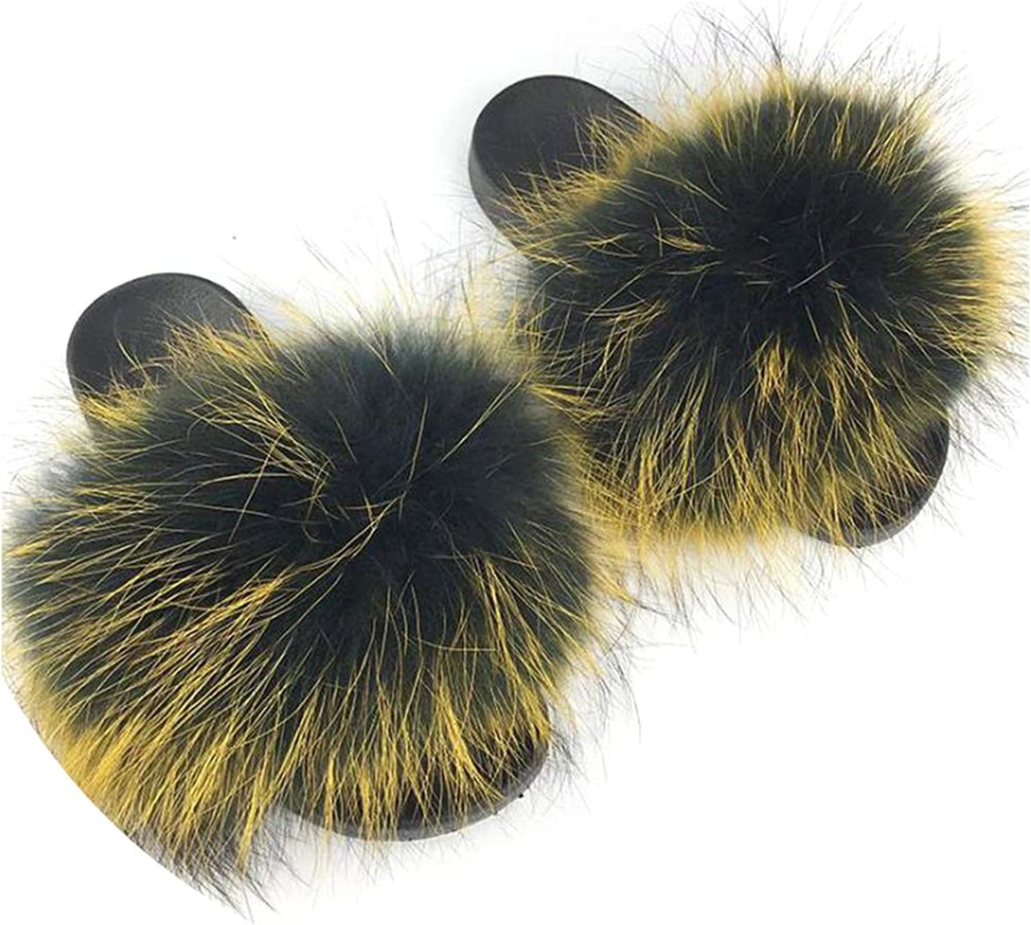 Just XiaoZhouZhou Real Raccoon Fur Slippers Women Sliders Casual Fox Hair Flat Fluffy Fashion Home Summer Big Size 45 Furry Flip Flops shoes,color D,9