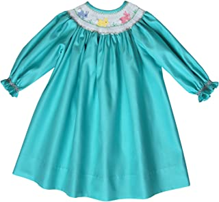 Aquamarine Girls Bishop Dress with Smocked Easter Bunny and Long Sleeves