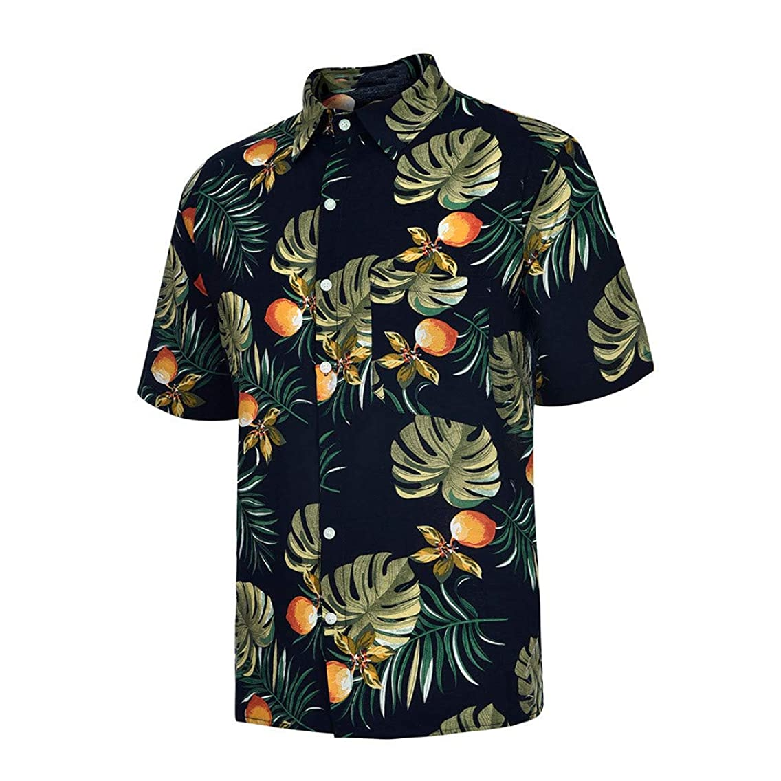 Rakkiss_Men Shirts Fashion Bohe Printed Tops Casual Slim Fit Turn-Down Collar Tee Short Sleeve Summer Blouse
