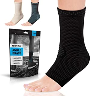 PowerLix Ankle Brace Compression Support Sleeve (Pair) for Injury Recovery, Joint Pain and More. Plantar Fasciitis Foot So...