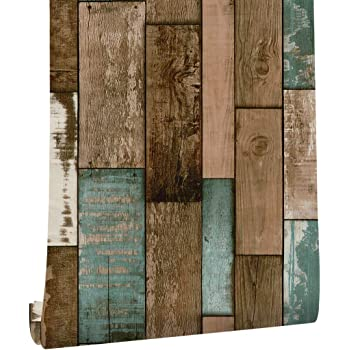 Akea Wood Peel And Stick Wallpaper 17 7 X 118 Self Adhesive Contact Paper Rustic Removable Faux Wood Plank Vintage Cabinets Drawers Decorative Prepasted Amazon Com
