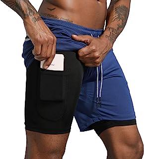 Leidowei Men's 2 in 1 Workout Running Shorts Lightweight Training Yoga Gym 7 Short with Zipper Pockets