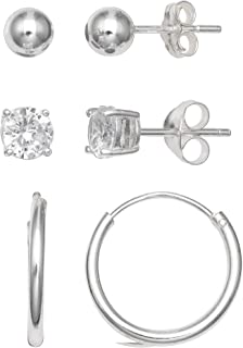925 Sterling Silver 3 Pair 5mm Polished Ball Stud, 5mm Cubic Zirconia Round Stud And 15mm Polished Endless Hoop Earring Set