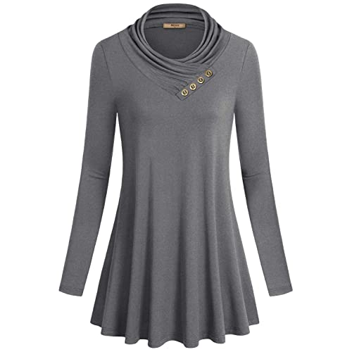 d7c146d290c Miusey Women s Long Sleeve Cowl Neck Form Fitting Casual Tunic Top Blouse