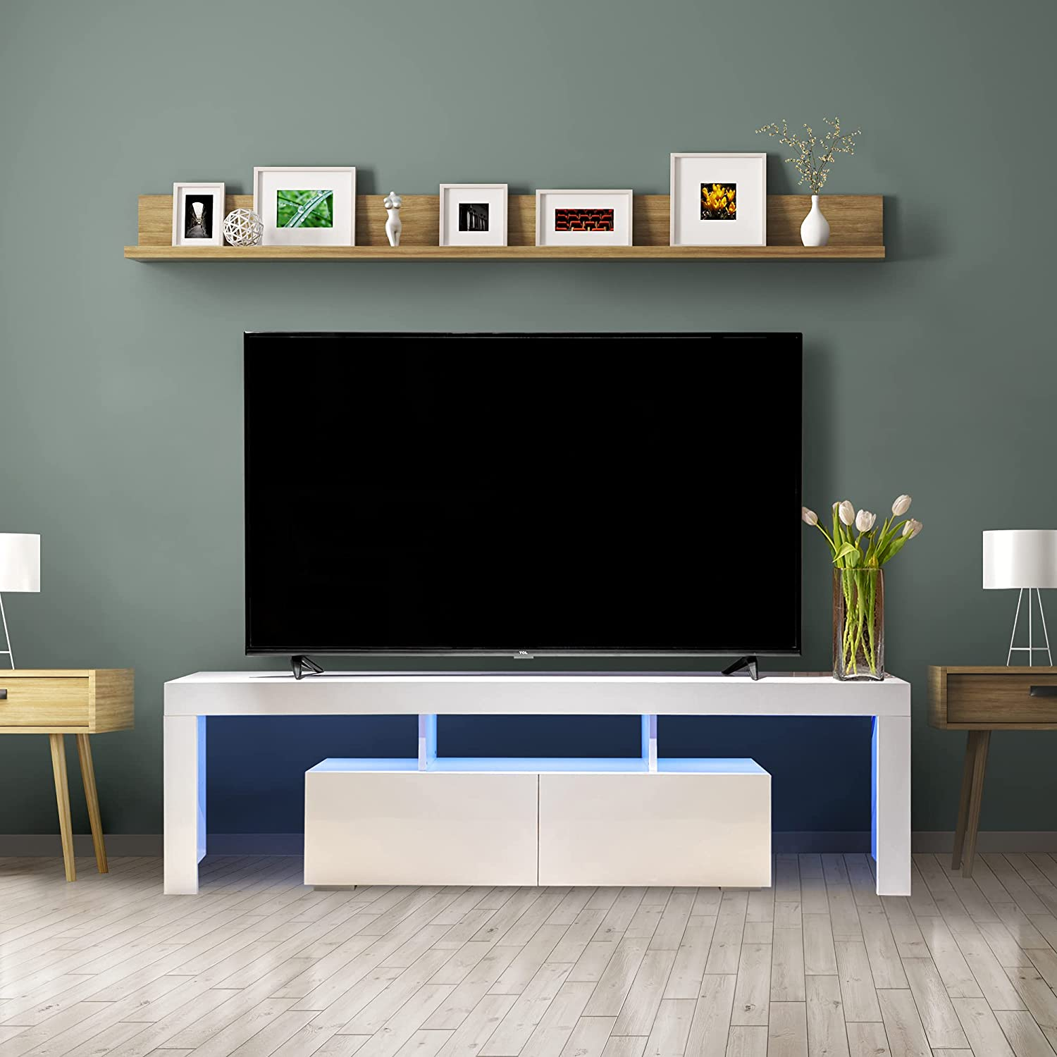HOMVENT Led 5 popular Tv Stand TV fo Entertainment Center Inventory cleanup selling sale Cabinet