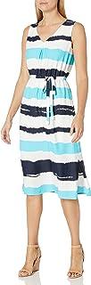 فستان لل نساء مقاس M , متعدد الالوان - فساتين عملية كاجوال Ice Blue/Multi 14