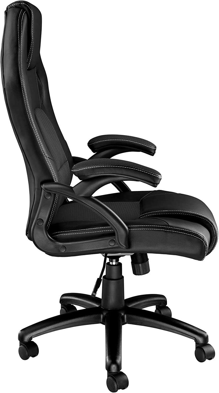 TecTake Chaise Fauteuil siège de Bureau Hauteur réglable Sportive (Noir-Rouge   403465) Noir-noir   No. 403470