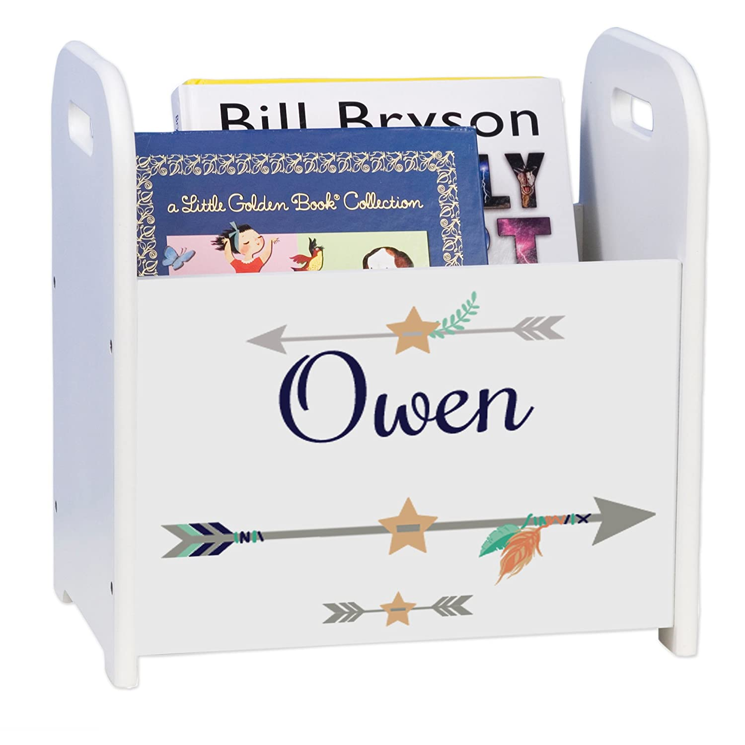 Special sale item Personalized List price Tribal Arrows boy White Book Rack and Caddy