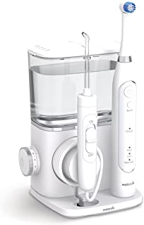 Waterpik CC-02 Complete Care 9.5 Oscillating Electric Toothbrush + Water Flosser, White, Medium