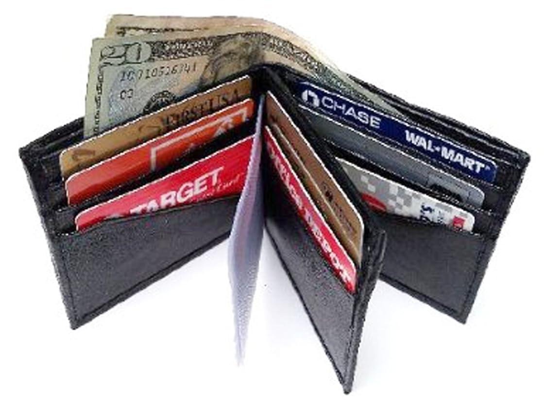 浸透するミント満たすメンズブラックレザー二つ折りファスナー付きBillfold Wallet 793