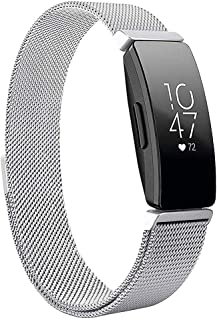 Magnetic Band Compatible with Fitbit Inspire/Inspire HR Fitness Tracker, Hamkaw Adjustable Milanese Loop Solid Stainless Steel Replacement Strap Watch Bands Accessories Men Women