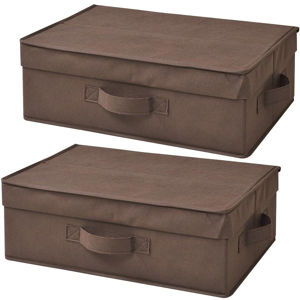 インシデントゆるく縁山善(YAMAZEN) どこでも収納ボックス 浅型 ふた付 2個セット ブラウン YTCF-2PAF(BR)