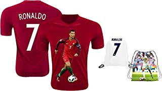 Ronaldo Jersey Style T-Shirt Kids Cristiano Ronaldo Jersey Portugal T-Shirt Gift Set Youth Sizes ✓ Premium Quality ✓ Soccer Backpack Gift Packaging