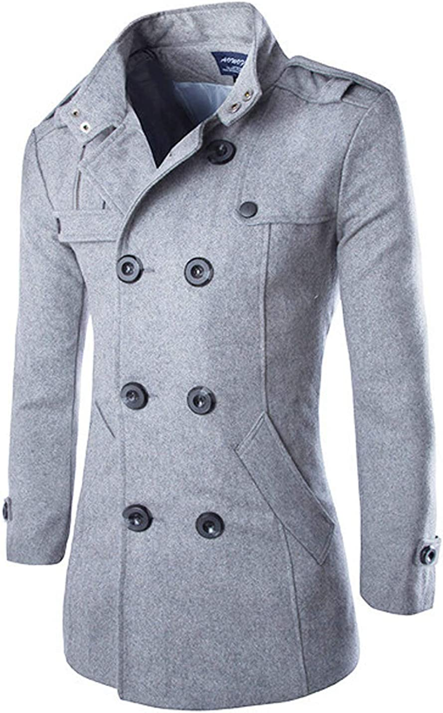 Yeokou Men's Stylish Double Breasted Wool Blend Winter Walker Pea Coat Jacket