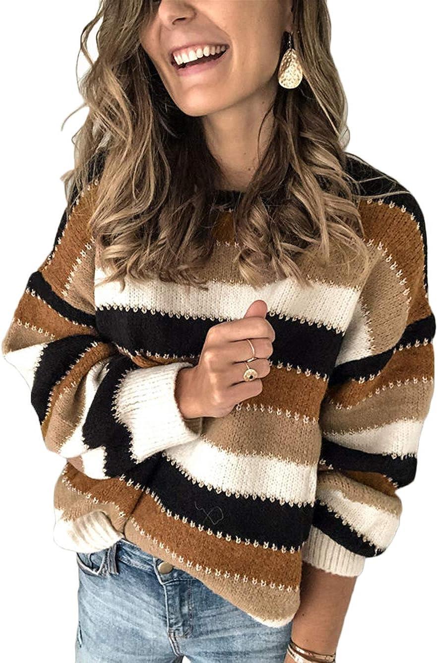 KaeiShi Color Block Sweater for Nippon regular agency Striped Women Colorblock Pullov Department store