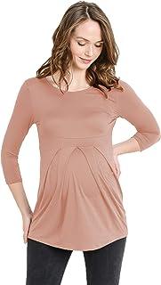LaClef Women's Round Neck 3/4 Sleeve Front Pleat Peplum Maternity Top