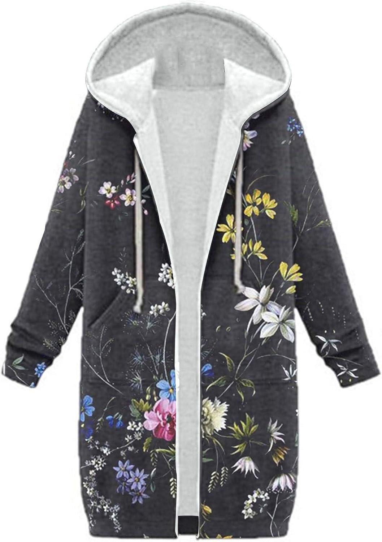 Women Warm Long Sleeve Hooded Zipper Pockets Floral Print Cotton Blend Long Cardigan Coat Outerwear