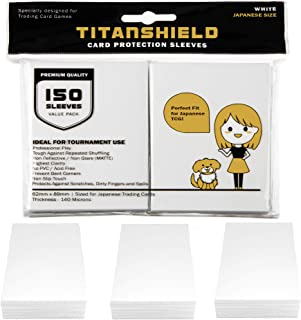 TitanShield (150 Sleeve/White) Small Japanese Sized Trading Card Sleeves Deck Protector for Yu-Gi-Oh, Cardfight!! Vanguard...