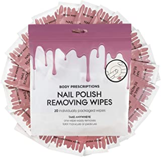 40 Nail Polish Remover Wipes - 2 pack (20 Count Each) of Nail Polish Remover Wipes Individually Wrapped by Body Prescriptions (Pink Packaging)