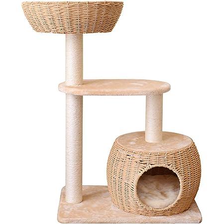 キャットタワーコンパクト 据え置き おしゃれカゴベットとカゴハウス付きのミニタワー 猫タワーおしゃれ キャットタワー木製 キャットハウス 可愛い&オシャレ キャットツリー 猫タワー 天然サイザル麻紐 爪とぎ 隠れハウス 省スペース 米色 麻縄巻 組み立て式 キャットタワー人気 ねこおもちゃ 猫用品 ペット用品
