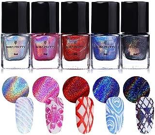BORN PRETTY Nail Art Holographic Stamping Polish New Style Laser manicuring Plate Printing Normal Nail Polish Varnish 5 Colors