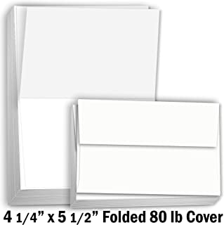 """Hamilco White Cardstock Thick Paper Blank Place Tent Folded A2 Cards - Greeting Invitations Stationary - 4 1/4 x 5 1/2"""" Heavy weight 80 lb Card Stock for Printer"""