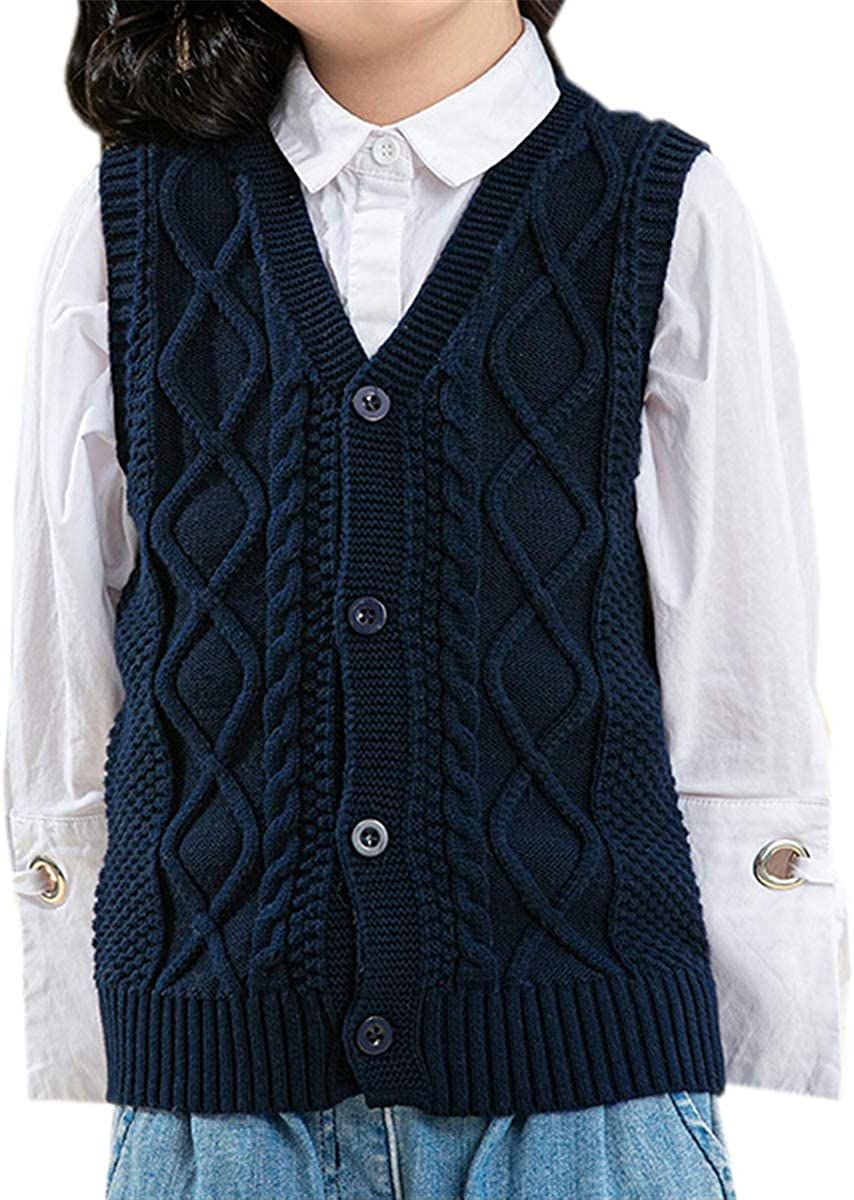 Schbbbta Little Boy's Girl's Button Down V Neck Cable Knit Cardigan Sweater Vest, 2-8 Years