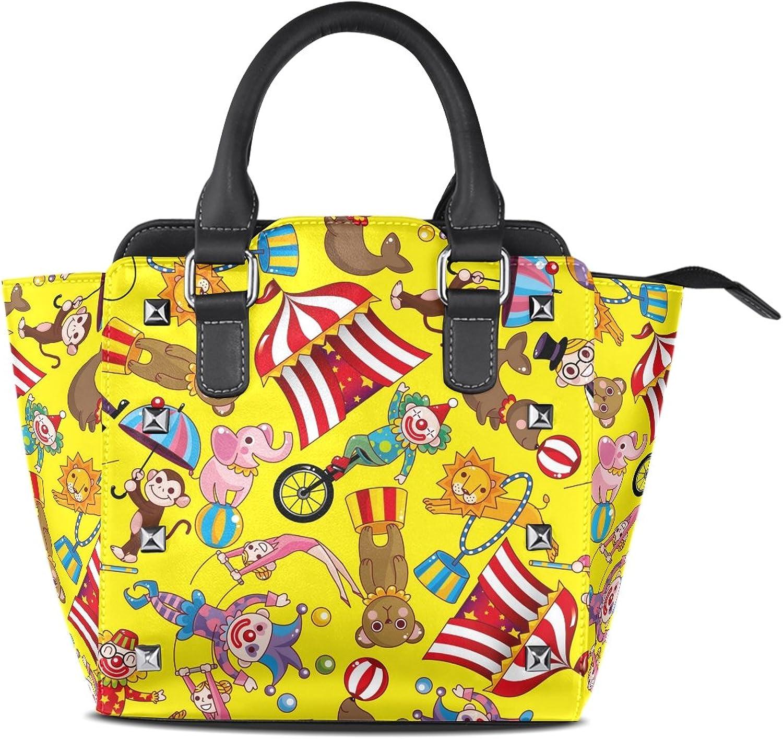 My Little Nest Women's Top Handle Satchel Handbag colorful Circus Ladies PU Leather Shoulder Bag Crossbody Bag