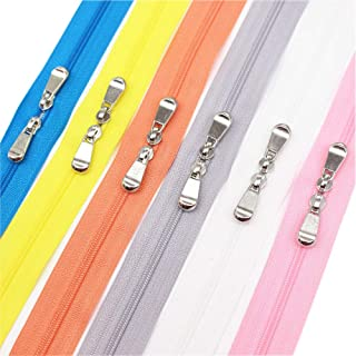 Meillia 6PCS 40 Inch #3 Double Slider Zippers Closed End Nylon Coil Zippers for Sewing, Crafts, Bags, Pillowcases, Bed Sacks, Decorating (40