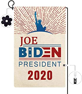 Baccessor Joe Biden 2020 for President Election Garden Flag Patriotic America USA Statue of Liberty Welcome Flag Small Burlap Garden Banner Double Sided Home Outdoor House Decoration 12.5 X 18 Inch