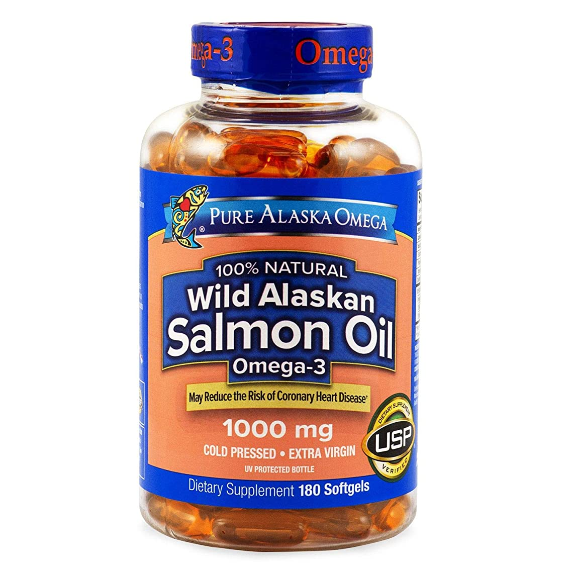 Pure Alaska Omega 100% Natural Wild Alaskan Salmon Oil 1000mg Food Supplement - 180 Softgels