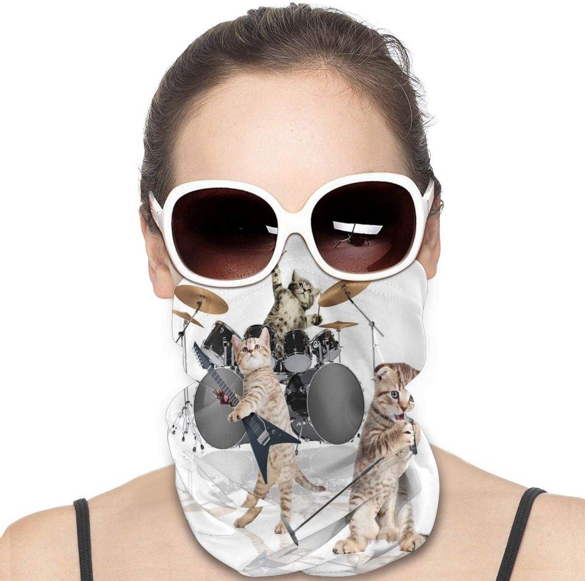 Tidyki Balaclava Sun Protection Face Mask - Rocker Band of Kittens Singer Guitarist Cats Motorcycle Mask Neck Gaiter Multifunctional Headwear Head Bands Neck Warmer Men Headbands Face Mask Bandana