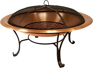 """Catalina Creations 40"""" Solid Copper Fire Pit with Log Grate, Spark Screen, with Lift Tool"""