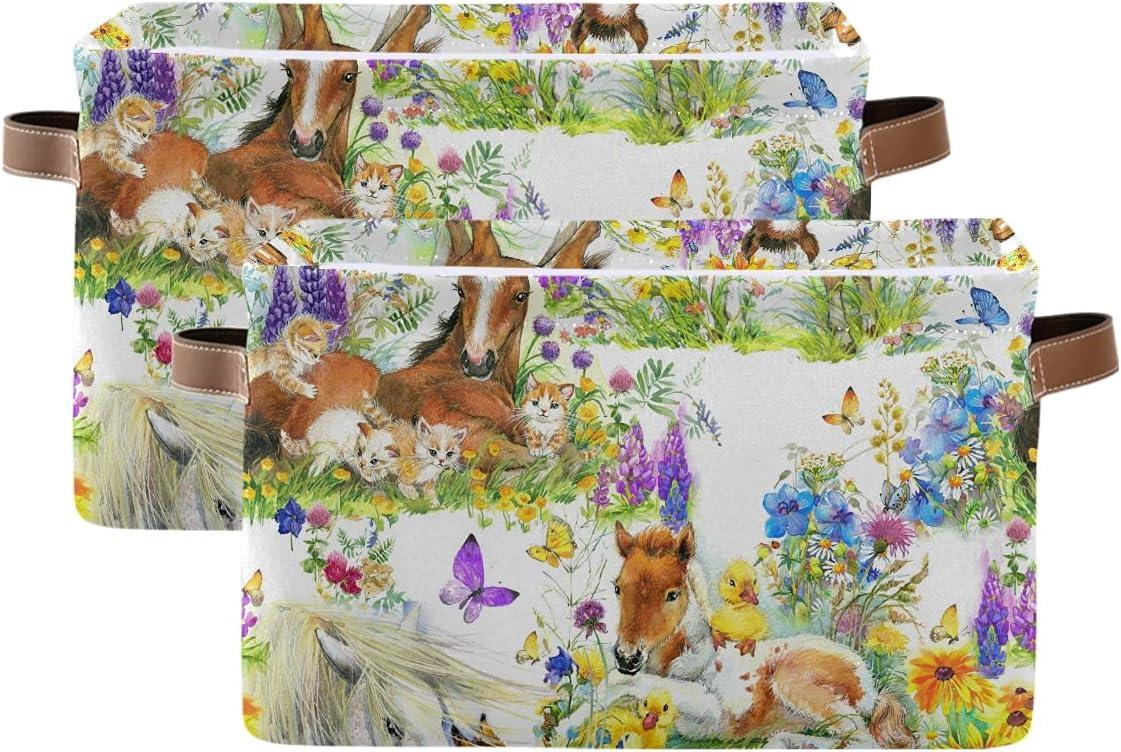 ADAKing Storage Basket Animal Horse lowest price 2 Pc Pattern store Butterfly Duck