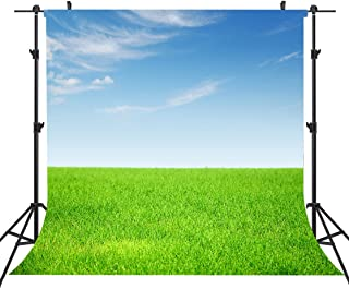 Natural Photography Backdrops 6 X 6 FT Green Grass Natural Scenery Photography Backdrop Blue Sky for Photo Studio Props Backdrop or YouTube Background Props ST660005
