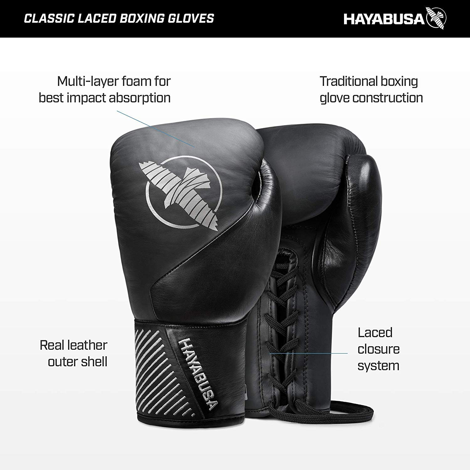 Hayabusa Classic Black Lace Up Leather Boxing Gloves 12oz Amazon Sg Sports Fitness Outdoors