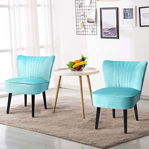 new arrival Giantex Set of 2 Velvet Accent Chair, Upholstered Modern Leisure Club Chairs w/Solid Wood Legs, Thick discount Sponge Seat, Adjustable Foot sale Pads, Armless Wingback Chairs for Bedroom Living Room (2, Turquoise) outlet sale