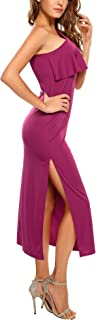 Women's Sexy Ruffled One Shoulder Sleeveless Split Hem Evening Maxi Party Dress
